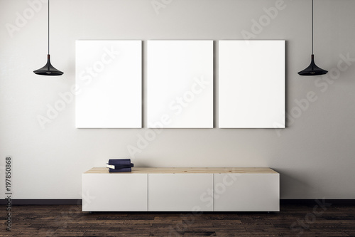 Fotografia, Obraz  Concrete living room with three posters