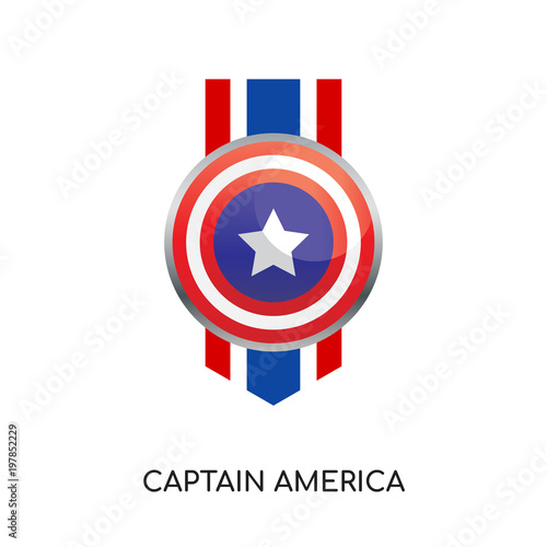 Photo  captain america logo isolated on white background for your web, mobile and app d