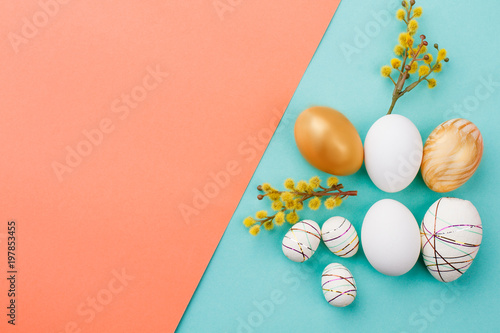 Fotografie, Obraz  Spring Easter composition on colorful background