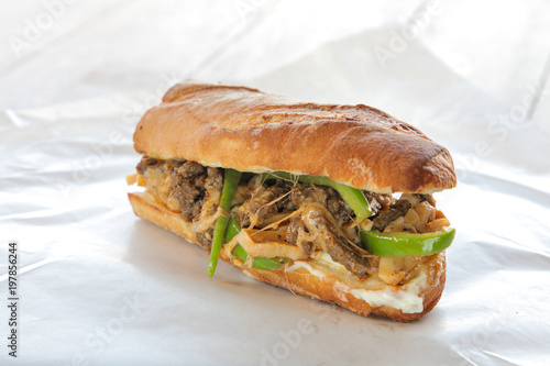 Philly beef steak cheese sandwich