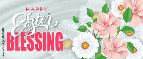 Photo Happy Easter blessing banner design with blooming twig and chamomiles