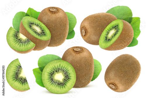 Isolated kiwi fruit. Collection of whole and cut kiwi isolated on white background.