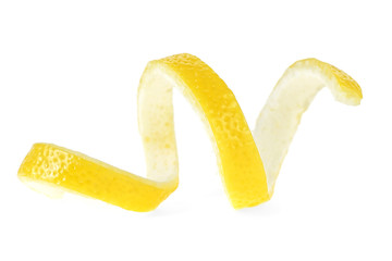Lemon peel isolated on a white background. Healthy food.