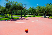 Basketball Court At Outdoor In Tropical Area In Summertime. Greece