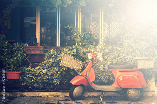 italian scooter, traditional style motorcycle with foliage background (image with bright light effect)