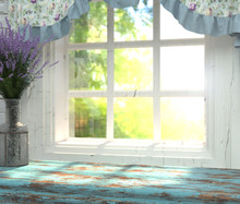 A Wooden Table Top With A Blue Color And Vase Of Lavender In Front Of Blurred Background Of A Window With A Green Garden Behind The Glass. Interior In The Provence Style. For Montage Product Display.