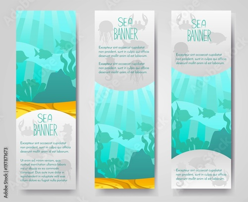 Photo Set of 2 vector flyer,banner,brouchure with marine fishes, coral, plant silhouettes and beautiful seascape