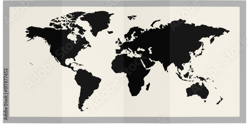 Keuken foto achterwand Wereldkaart World map in frame isolated