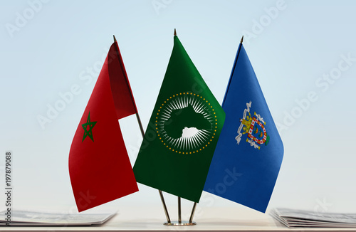 Flags of Morocco African Union and Melilla