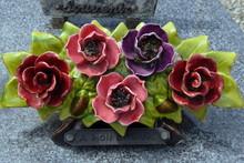 Fleurs En Céramique Pour Pierres Tombales, Art Funéraire, Décoration Florale