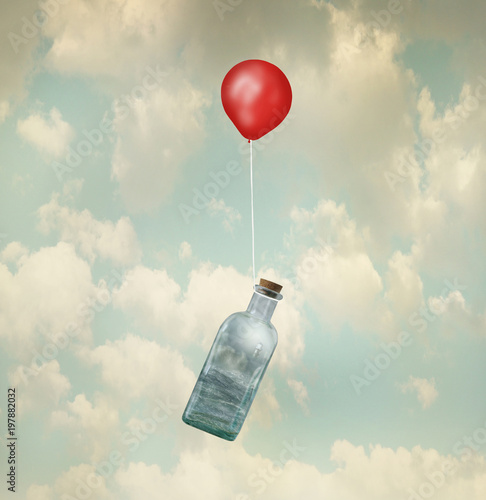 Montage in der Fensternische Surrealismus Surreal image representing a glass bottle with a stormy sea inside carried by a red balloon flying in the clouds