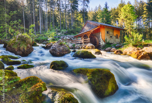 Canvas Print Austria landscape with waterfall and watermill near Salzburg, Golling Alps
