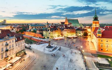 Poland, Warsaw city at night