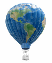 Hot Air Balloon With World Map...