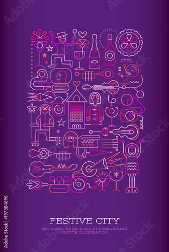 Foto op Canvas Abstractie Art Festive City vector illustration