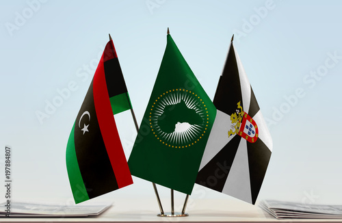 Flags of Libya African Union and Ceuta