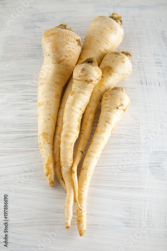 fresh harvested parsley roots on white wooden kitchen plate, can be used as background