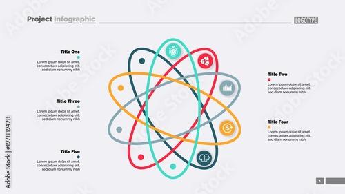 Fotografia, Obraz Five Steps Atom Model Slide Template