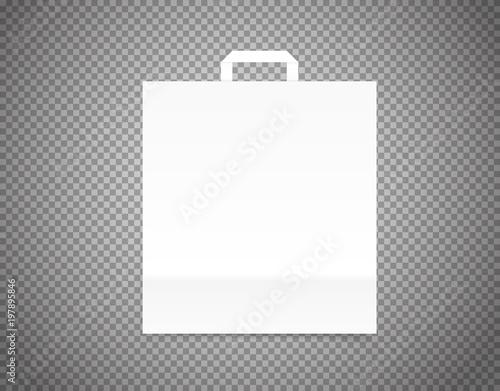 Fotografie, Obraz  White paper craft bag on transparent background vector illustration