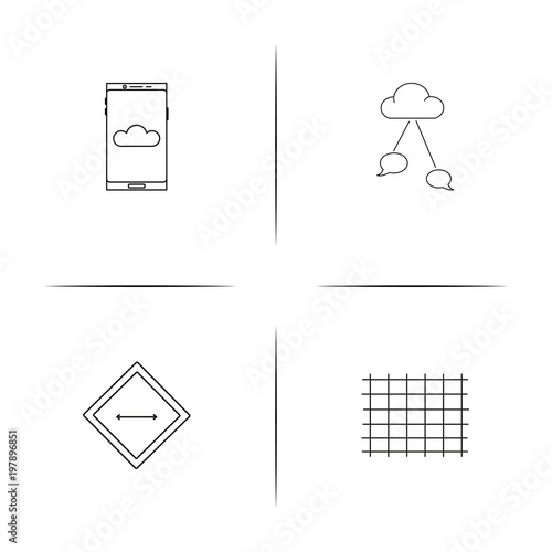 Fotografija  Signs And Symbols simple linear icons set. Outlined vector icons