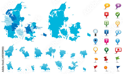 Obraz na plátně Denmark-highly detailed map