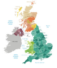 United Kingdom -highly Detailed Map.All Elements Are Separated In Editable Layers Clearly Labeled. Vector