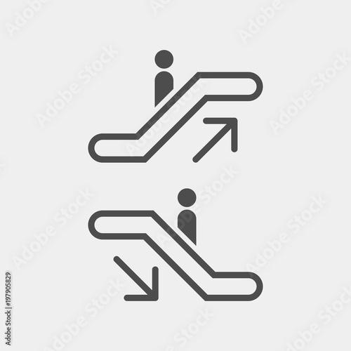 Escalator flat vector icons. Escalator vector signs Canvas Print