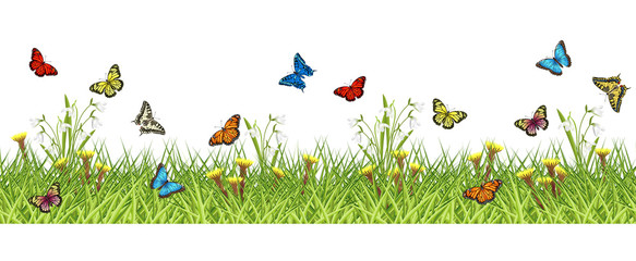 NaklejkaGreen grass, spring flowers and butterflies. Vector seamless horizontal background for card, banner, poster and web site design, 2 separate layers ready for parallax effect.