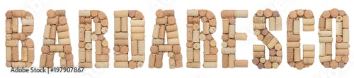 Photo Grape variety Barbaresco made of wine corks Isolated on white background