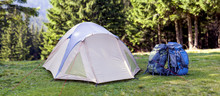 Tourist Camp On Green Meadow W...