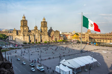MEXICO CITY - FEB 5, 2017: Constitution Square (Zocalo) View From The Dome Of The Metropolitan Cathedral
