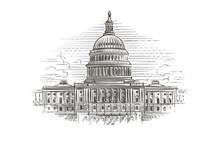 Capitol Building Hand Drawn Il...