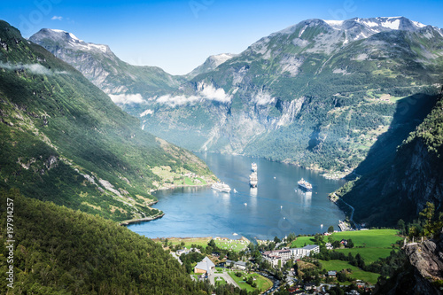 Wall Murals Northern Europe Geiranger fjord panoramic view,Norway
