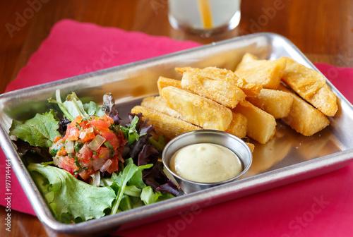 Fotografie, Obraz  Yuca Fritas with Mojo Sauce and Salad