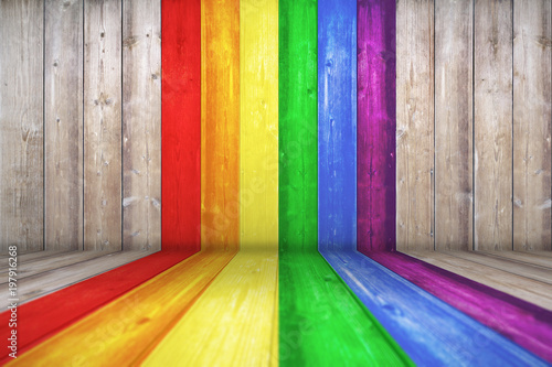 Wood texture background surface with LGBT natural pattern or white wood texture table perspective view Fototapeta