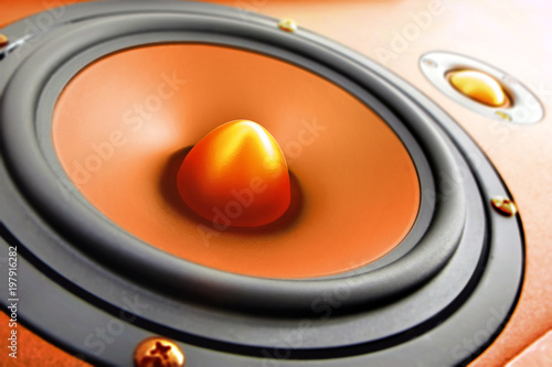 Fototapeta Multimedia speaker system with different speakers. Hi fi audio stereo system sound speakers. obraz