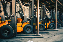 Background Of A Lot Of Forklifts, Reliable Heavy Loader, Truck