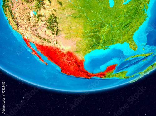 Fototapety, obrazy: Satellite view of Mexico in red