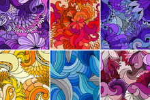 A Set Of Six Bright Abstract Seamless Vector Patterns With Waves And Flowers. Ethnic Summer Template. Design For Wallpaper, Textile, Web Page Background.