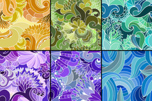A Set Of Six Color Abstract Seamless Vector Patterns With Waves And Lines. Summer Template. Design For Wallpaper, Textile Or Other.