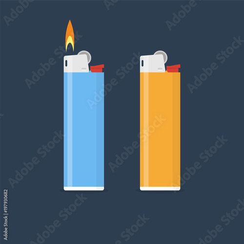 Lighter vector illustration in flat style. Gas lighter with a bu Canvas Print