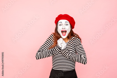 Portrait of happiness woman shout and toothy smiling Wallpaper Mural