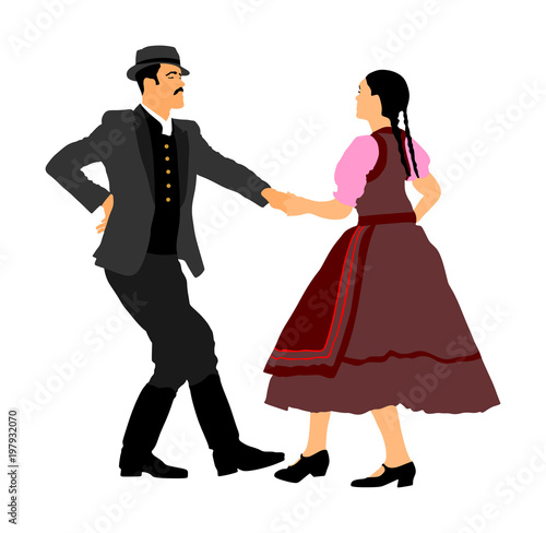 Valokuvatapetti Hungarian folk dancers couple vector
