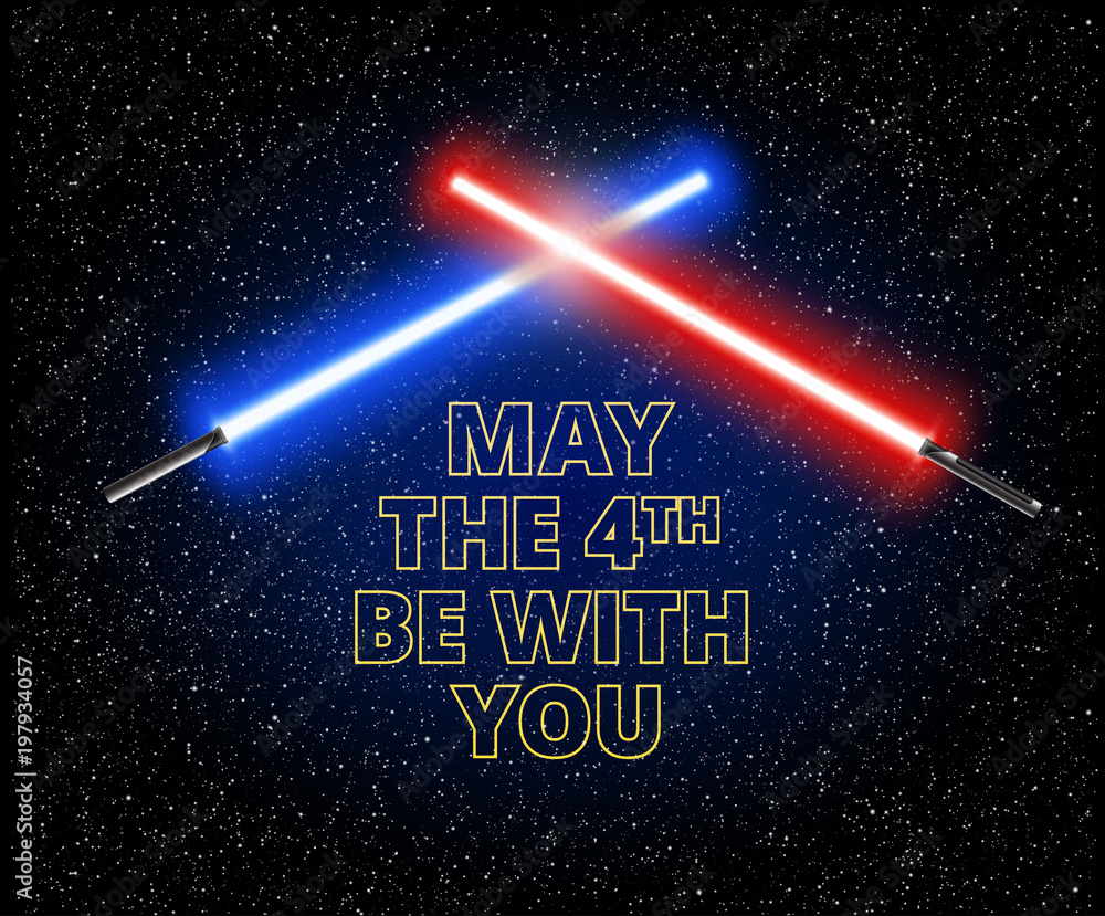 Photo  May the 4th be with you - holiday greetings vector illustration with light sword