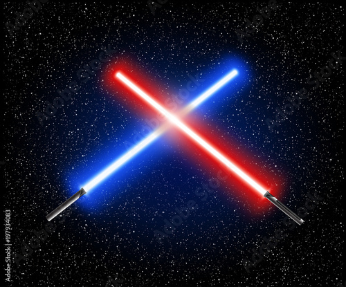 Photographie  Two crossed light swords - blue and red crossing laser lightsabers vector illust