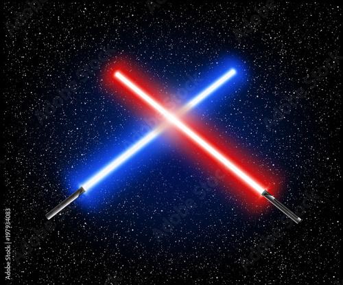 Dwa skrzyżowane miecze świetlne - niebieski i czerwony skrzyżowanie laserowe miecze świetlne ilustracji wektorowych