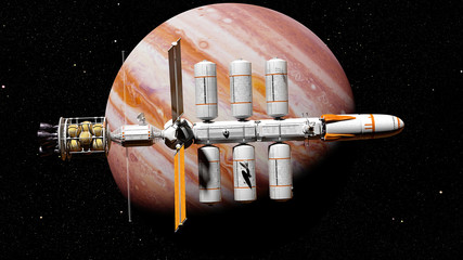 spaceship on a mission to planet Jupiter, starship in orbit of a gas giant