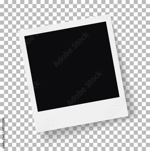 Fototapeta Photo frame. Retro Photo Frame Template for your photos. White plastic border on a transparent background. - stock vector. obraz na płótnie