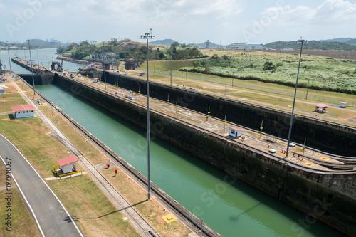 Recess Fitting Channel Empty Miraflores Locks, Panama Canal, Panama City