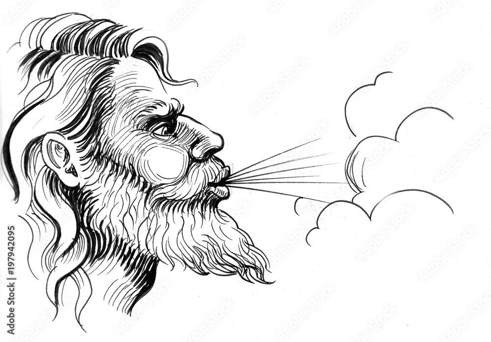 Fototapety, obrazy: Ink black and white illustration of a God of winds